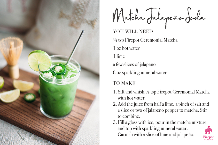Matcha Jalapeno Soda Recipe Card