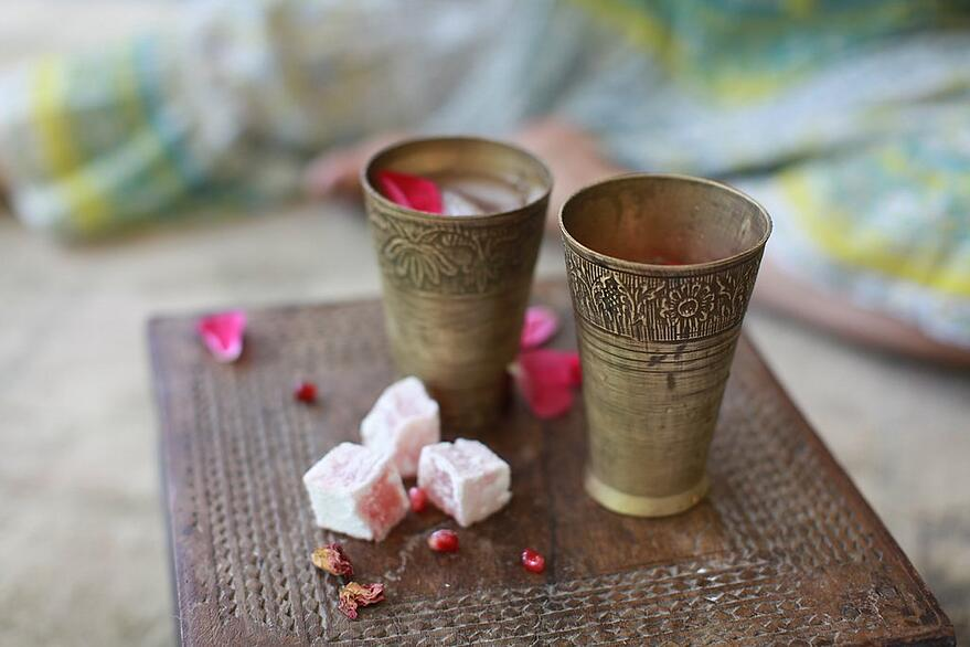 Pomegranate Rose Tea with Turkish delight