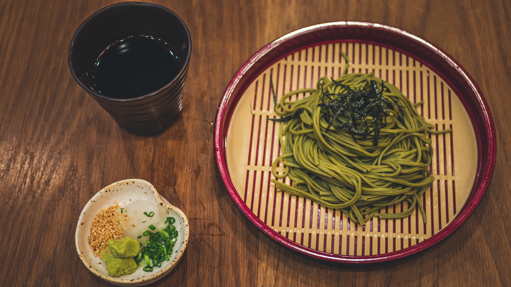 Japanese soba with green tea