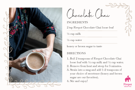 Chocolate Chai Tea Recipe Card