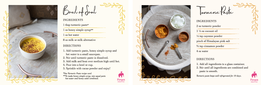 Bowl of Soul and Turmeric Paste Recipe Cards