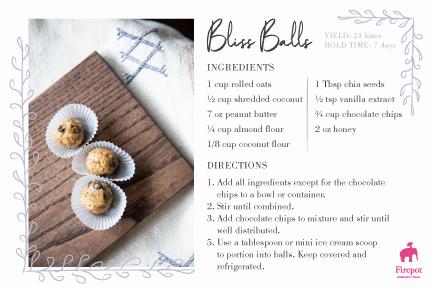 Bliss Balls recipe card