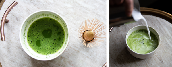 Matcha and whisk, and milk pouring into matcha