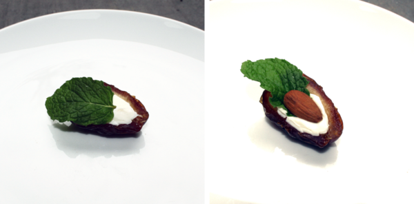 Left: Halved, pitted date filled with cheese and a mint leaf; Right: Halved, pitted date filled with cheese and a mint leaf, topped with a whole almond