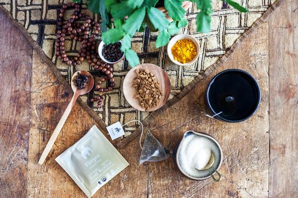 Soul revival hot tea with ingredients