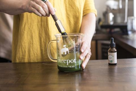 Combining the ingredients for our Emerald Zen matcha iced tea recipe
