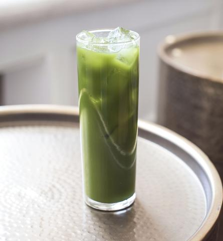 Green Goddess matcha iced green tea with CBD oil
