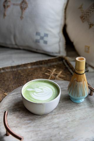 Cardamom Matcha Latte with Matcha whisk