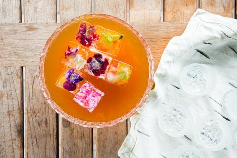 Firepot Fruit Tea with Edible Flower Ice